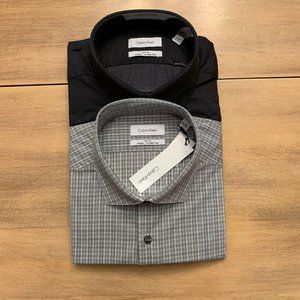 Calvin Klein NWT Sz L Slim fit 2PK Men Shirt stret